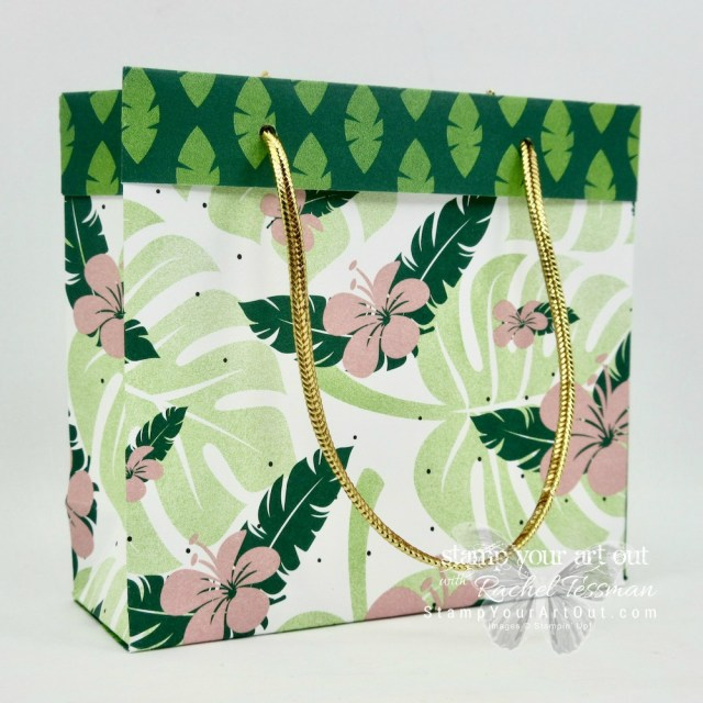 Tropical Escape Mini Collapsible Gift Bag made with 2 sheets of 6x6 Tropcial Escape Designer Paper…#stampyourartout #stampinup - Stampin' Up!® - Stamp Your Art Out! www.stampyourartout.com