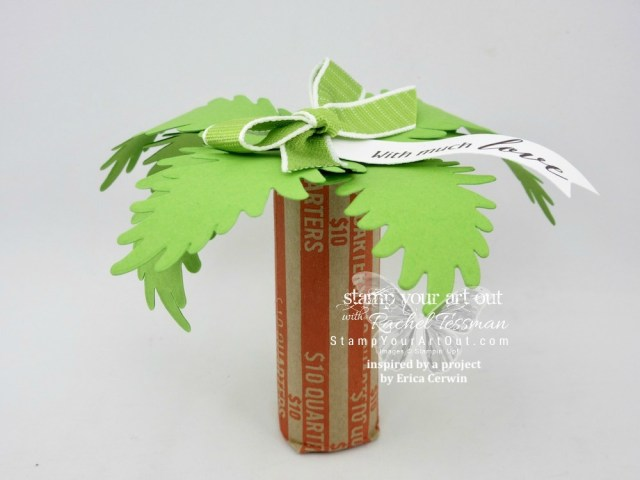 Click here to see how to make a fun and simple palm tree coin roll gift with products from the Tropical Chic Bundle: Tropical Chic stamp set and Tropical Thinlits Dies (inspired by a peek at a project from the talented Erica Cerwin)…#stampyourartout #stampinup - Stampin' Up!® - Stamp Your Art Out! www.stampyourartout.com