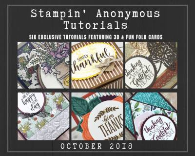 """Monthly Tutorial Bundles contain 6 EXCLUSIVE """"better than flat"""" projects (fun fold cards or 3-D items) created by myself and 5 other talented, but anonymous Stampin' Up! demonstrators. Place an order in the month of October, and get this bundle for free! Or choose the option to purchase them for just $9.95…#stampyourartout #stampinup - Stampin' Up!® - Stamp Your Art Out! www.stampyourartout.com"""