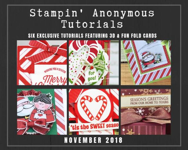 "Monthly Tutorial Bundles contain 6 EXCLUSIVE ""better than flat"" projects (fun fold cards or 3-D items) created by myself and 5 other talented, but anonymous Stampin' Up! demonstrators. Place an order in the month of November, and get this bundle for free! Or choose the option to purchase them for just $9.95…#stampyourartout #stampinup - Stampin' Up!® - Stamp Your Art Out! www.stampyourartout.com"