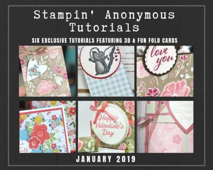 """Monthly Tutorial Bundles contain 6 EXCLUSIVE """"better than flat"""" projects (fun fold cards or 3-D items) created by myself and 5 other talented, but anonymous Stampin' Up! demonstrators. Place an order in the month of January, and get this bundle for free! Or choose the option to purchase them for just $9.95…#stampyourartout #stampinup - Stampin' Up!® - Stamp Your Art Out! www.stampyourartout.com"""
