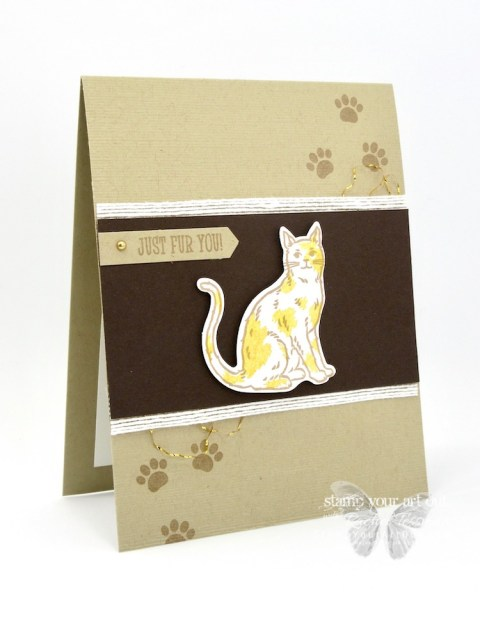The new Happy Tails and Nine Lives Stamp Sets each have coordinating punches so you can stamp a variety of cats and dogs and cut them out with ease. I love how there are images in each set that can work with either dogs or cats, too. I had to have them all! #stampyourartout #stampinup - Stampin' Up!® - Stamp Your Art Out! www.stampyourartout.com