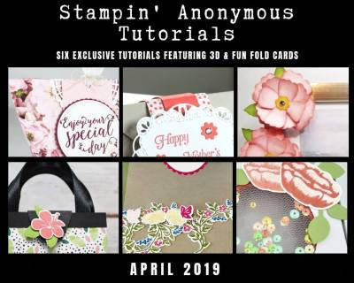 """Stampin' Anonymous Tutorials contain 6 EXCLUSIVE """"better than flat"""" projects (fun fold cards or 3-D items) created by myself and 5 other talented Stampin' Up! demonstrators. Place an order in the month of April, and get this bundle for free! Or choose the option to purchase any of the bundles for just $9.95. #stampyourartout #stampinup - Stampin' Up!® - Stamp Your Art Out! www.stampyourartout.com"""