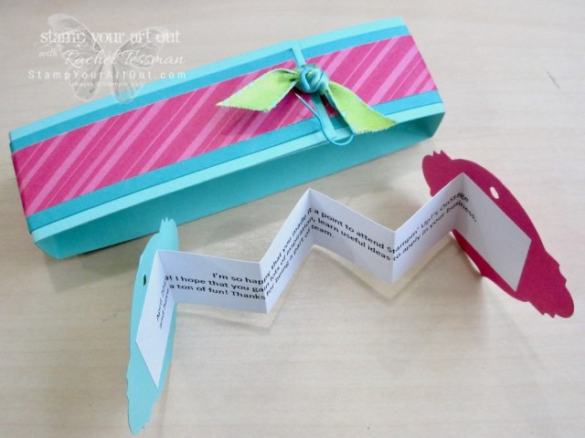Click here to see the gifts I gave to team members that attended OnStage April 2019. Tamra Davis at TaDa! Moments made and etched the Take Your Pick Tool holders. Then I wrapped the containers they came in (Stampin' Up!'s Acetate Card Boxes) with belly bands and personalized gift tags that I made with products from the retiring How Sweet It Is suite: How Sweet It Is Designer Paper, Sweetest Thing Stamp Set, Jar Of Sweets Framelits, and the Coastal Cabana/Granny Apple Green Reversible Ribbon. I store my holder with the Tool parts outside of the acetate box for easy access. So I made another tag and turned the box into a new gift – a treat box filled with chocolates! #stampyourartout #stampinup - Stampin' Up!® - Stamp Your Art Out! www.stampyourartout.com