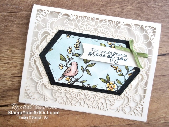 Greek Isles Achievers Blog Hop May 2019: 2019-20 Annual Catalog Peeks! This card was made with products from the new Bird Ballad Suite… Laser Cut Cards, Bird Ballad Designer Paper, Free As A Bird Stamp Set, and Stitched Nested Labels Dies. Click here for directions, measurements and supplies. #stampyourartout #stampinup - Stampin' Up!® - Stamp Your Art Out! www.stampyourartout.com