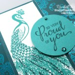 The Noble Peacock Suite is one of my favorites in the 2019-20 Annual Catalog. I love the stunning images in the Royal Peacock stamp set and the beautiful foil paper. Directions, measurements and supplies linked to my online store can be found by clicking here. #stampyourartout #stampinup - Stampin' Up!® - Stamp Your Art Out! www.stampyourartout.com