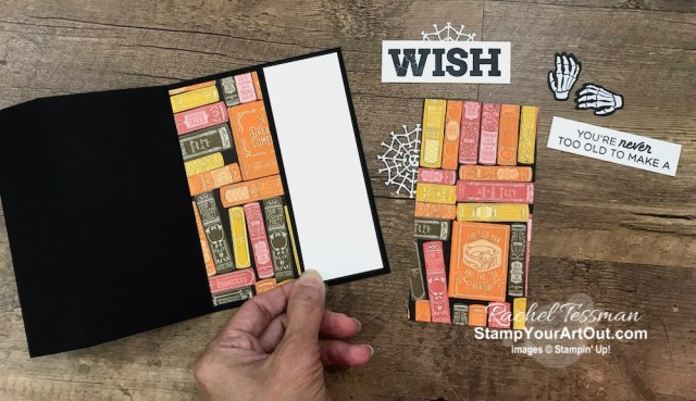 """Here is another 3-Panel Scenery Z-Fold that I created with the September 2019 Bone Appétit Paper Pumpkin kit, the Monster Bash Designer Paper, and the Broadway Birthday Stamp Set. This is a great way to show off connected images or multiple images when you want to use a full 6"""" wide piece of designer paper. Click here to access measurements, see other close-up photos, get links to all the products I used, and find links to other 3-Panel Scenery Z-Fold cards I've made recently. - Stampin' Up!® - Stamp Your Art Out! www.stampyourartout.com"""