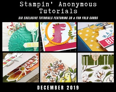 """Stampin' Anonymous Tutorials contain 6 EXCLUSIVE """"better than flat"""" projects (fun fold cards or 3-D items) created by me and 5 other talented Stampin' Up! demonstrators. Place an order in the month of December, and get this bundle for free! Or choose the option to purchase any of the bundles for just $9.95. - Stampin' Up!® - Stamp Your Art Out! www.stampyourartout.com"""