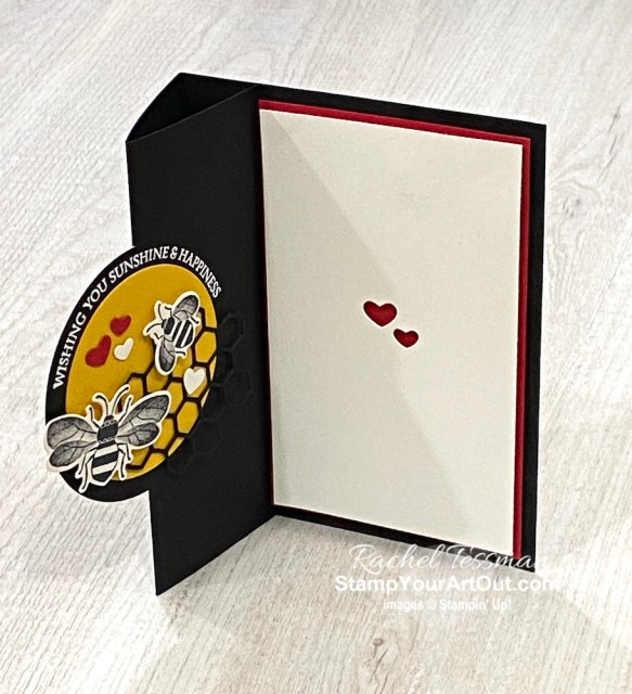Click here to see close-up photos of my Honey Bee vertical easel card. Access measurements, directions, and a list of supplies I used linked to my online store. - Stampin' Up!® - Stamp Your Art Out! www.stampyourartout.com