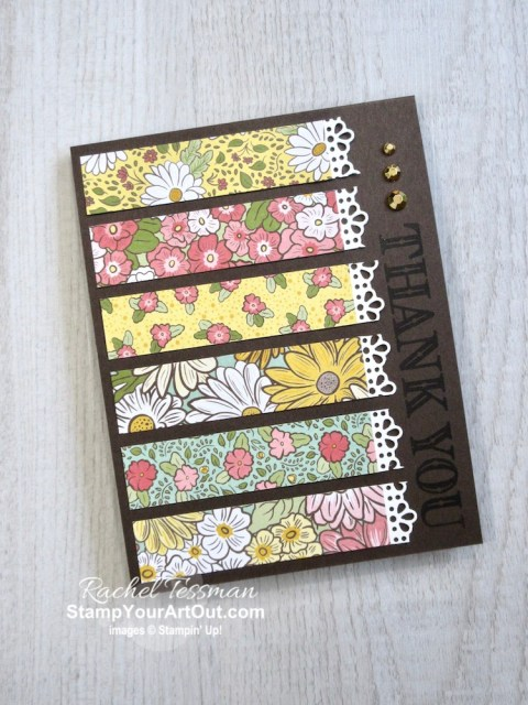 There are so many creative possibilities with the new Ornate Garden Suite of products. This is a simple card you can make with the Ornate Garden Designer Paper, Ornate Thanks Stamp Set, Gold Gilded Gems, and Ornate Borders Dies. Access measurements, directions, and a list of supplies I used that are linked to my online store. - Stampin' Up!® - Stamp Your Art Out! www.stampyourartout.com