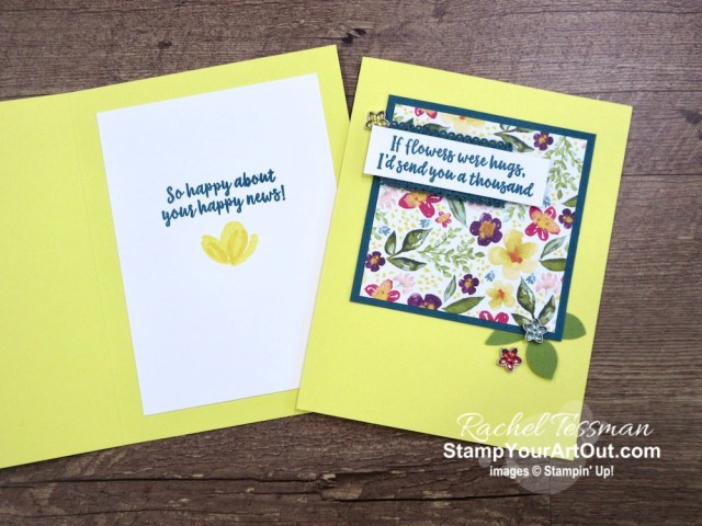 Best Dressed Designer Paper, Faceted Gems, the Leaf Punch, and Abstract Impressions images make quick and easy cards. Access more photos, measurements, tips, and a supply list by clicking here. Stampin' Up!® - Stamp Your Art Out! www.stampyourartout.com