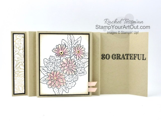 I'm excited to show you how to make an Accordion Display fun-fold card with products from the Ornate Garden Suite: Ornate Style and Ornate Thanks Stamp Sets, Gilded Gems, and the Ornate Garden Designer Paper. Click here to access measurements, a how-to video with tips and tricks, see other close-up photos, and access links to all the products I used. - Stampin' Up!® - Stamp Your Art Out! www.stampyourartout.com