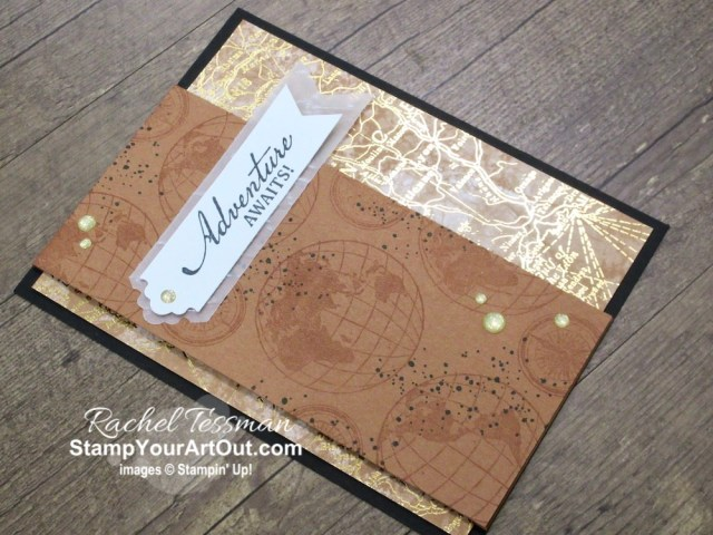 There are so many creative possibilities with the new World of Good Suite of products. This is a simple card you can make with the World of Good Designer Paper, Beautiful World Stamp Set, Old World Paper Embossing Folder, Gold Glitter Enamel Dots, and the Lovely Labels Pick a Punch. Access measurements, directions, and a list of supplies I used that are linked to my online store. - Stampin' Up!® - Stamp Your Art Out! www.stampyourartout.com