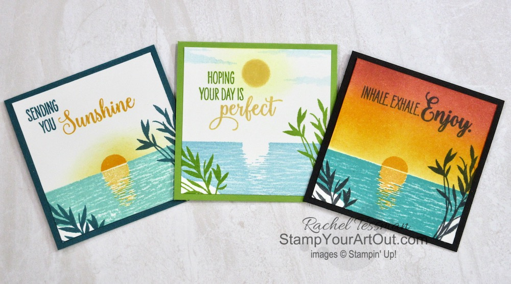 """Click here to see how to use just the basics (inks, stamps and paper) to create some """"fabulous random acts of kindness"""" (RAK) mini cards. These feature the Sending Sunshine Stamp Set, the upcoming Brushed Metallic Cardstock, and Shimmery White Cardstock. You'll be able to access measurements, a how-to video with tips and tricks, other close-up photos, and links to all the products I used. - Stampin' Up!® - Stamp Your Art Out! www.stampyourartout.com"""