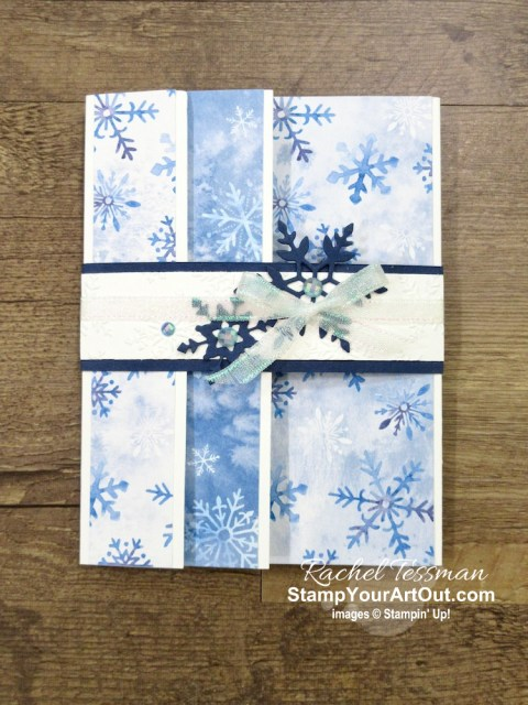 "Click here to see how to make some beautiful versions of a ""flap fold"" card with products from the Snowflake Splendor Suite in the Aug-Dec 2020 Mini Catalog: Snowflake Wishes Stamp Set, So Many Snowflakes Dies, Snowflake Splendor Designer Paper, Winter Snow Embossing Folder, Blue Adhesive-Backed Gems, and Snowflake Splendor Ribbon. You'll be able to access measurements, the how-to video for doubling the kit, other close-up photos, and links to the products I used. - Stampin' Up!® - Stamp Your Art Out! www.stampyourartout.com"
