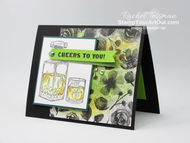 """I made this """"Cheers to You"""" card with images from the Whiskey Business Stamp Set, Magic In This Night designer paper, and the Blue Adhesive-backed Gems. Access directions, more photos, measurements, and links to the products I used. - Stampin' Up!® - Stamp Your Art Out! www.stampyourartout.com"""