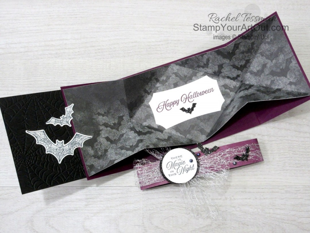 Click here to see how to make a gate fold explosion card with products from the Magic In This Night Suite: Hallows Night Magic Stamp Set, Halloween Magic Dies, Magic In This Night Designer Paper, Metallic Mesh Ribbon, Iridescent Pearls, Cobwebs Embossing Folder, and Black Glitter Paper. You'll be able to access measurements, a how-to video with tips and tricks, other close-up photos, and links to all the products I used.  - Stampin' Up!® - Stamp Your Art Out! www.stampyourartout.com