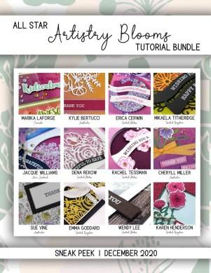 Here are the Artistry Blooms All Star Tutorial Bundle Peeks. Place an order in the month of December 2020 and get this bundle of 12 fabulous paper crafting project tutorials for free! Or purchase it for just $15. - Stampin' Up!® - Stamp Your Art Out! www.stampyourartout.com