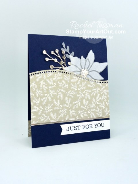 Here are three cards – same layout, but different color combinations – made with the Plush Poinsettia flocked vellum, Classic Christmas Designer Paper, Curvy Dies, and Poinsettia Dies. Access directions, more photos, measurements, and links to all the products. - Stampin' Up!® - Stamp Your Art Out! www.stampyourartout.com