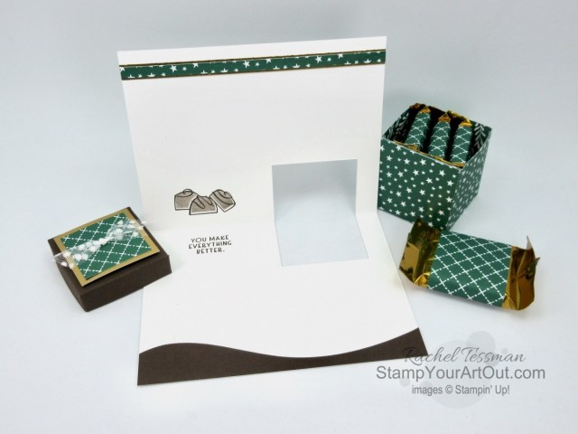 "Click here to see my November 2020 versions of the ""Gift Box In A Card"" project. This 3-D project was something I shared on my blog a little over three years ago. But this time I made them with the Nothing's Better Than Stamp Set, Love You More Than Dies, Curvy Dies, Classic Christmas Designer Paper, and Brushed Metallic Cardstock. And… I've adjusted some measurements to make things fit better. You'll be able to access measurements, the how-to video, other close-up photos, and links to the products I used. - Stampin' Up!® - Stamp Your Art Out! www.stampyourartout.com"