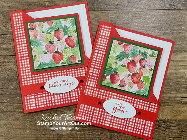 If berries make you happy, then these cards are definitely something you'll want to try to recreate.  Click here to see the awesome corner fold cards I made with some of my favorite upcoming products debuting on January 5th: the Sweet Strawberry and Berry Blessing Stamp Sets, the Strawberry Builder Punch, and the Berry Delightful Designer Paper. You'll also be able to access measurements, directions, a link to the how-to video, other close-up photos, and links to the products I used. - Stampin' Up!® - Stamp Your Art Out! www.stampyourartout.com