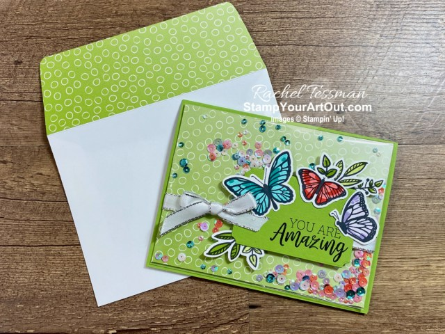 I walk through the steps of making a faker shaker card while showing off some of the fun new products that debuted in the Jan-June 2021 Mini Catalog and Sale-a-Bration Brochure: Floating & Fluttering Stamp Set, Fluttering Dies, You Are Amazing Stamp Set, and the Oh So Ombre Designer Paper. Click here to access measurements, other photos, links to the products I used, and my how-to video for the step-by-step directions. - Stampin' Up!® - Stamp Your Art Out! www.stampyourartout.com