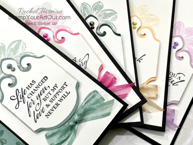 Click here to see another sneak peek with new products debuting in less than 2 weeks in the 2021-22 Annual Catalog. This time I'm featuring the Elegantly Said Stamp Set, Elegant Tag Punch, and 2021-23 In Color inks, cardstock, ribbon, and jewels. You'll be able to access measurements, a how-to video with tips and tricks, other close-up photos, and links to all the products I used. - Stampin' Up!® - Stamp Your Art Out! www.stampyourartout.com