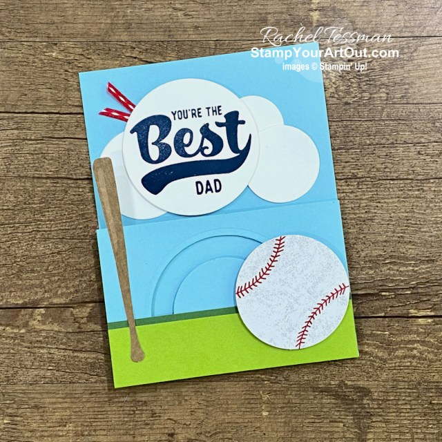 """I'm excited to share with you a fun vertical extension spinner card I created with the May 2021 Batter Up Paper Pumpkin Kit! Click here for photos, measurements, directions/tips for making it, and a complete product list linked to my online store. Plus, you can see several other alternate project ideas created with this kit by fellow Stampin' Up! demonstrators in our blog hop: """"A Paper Pumpkin Thing""""! - Stampin' Up!® - Stamp Your Art Out! www.stampyourartout.com"""