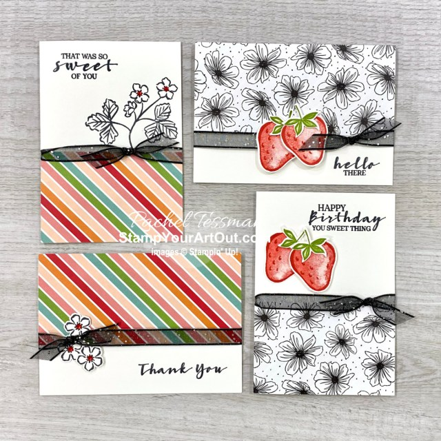Click here to see the note card set and pouch that I made with the Strawberry Builder Punch, coordinating Sweet Strawberry Stamp Set, and a sheet of Pattern Party Designer Paper. - Stampin' Up!® - Stamp Your Art Out! www.stampyourartout.com