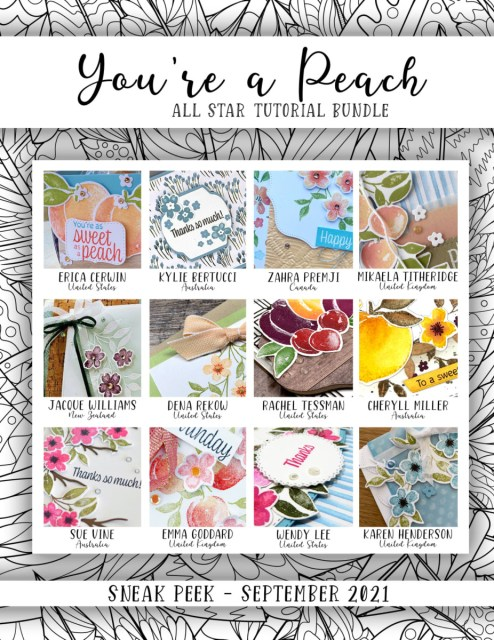 Here are the You're a Peach Suite All Star Tutorial Bundle Peeks. Place an order in the month of September 2021 and get this bundle of 12 fabulous paper crafting project tutorials for free! Or purchase it for just $15. - Stampin' Up!® - Stamp Your Art Out! www.stampyourartout.com
