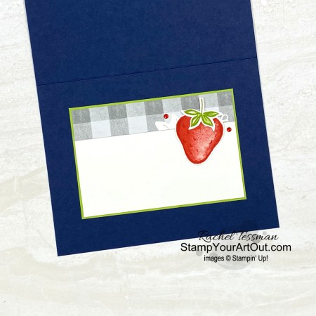 Click here to see how to make a version of this Sweet Strawberry card using the Sweet Strawberry Stamp Set, Strawberry Builder Punch, Ornate Borders Dies, Peaceful Place Designer Paper, Red Rhinestones, and Welcoming Wood Stamp Set. Access more photos, measurements, directions, and a supply list by clicking here. Stampin' Up!® - Stamp Your Art Out! www.stampyourartout.com
