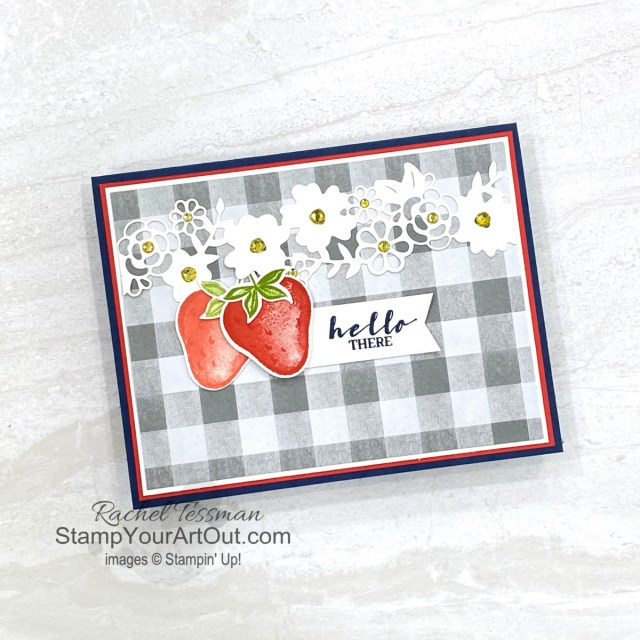 Click here to see how to make a version of this Sweet Strawberry card using the Sweet Strawberry Stamp Set, Strawberry Builder Punch, Ornate Borders Dies, and Peaceful Place Designer Paper. Access more photos, measurements, directions, and a supply list by clicking here. Stampin' Up!® - Stamp Your Art Out! www.stampyourartout.com