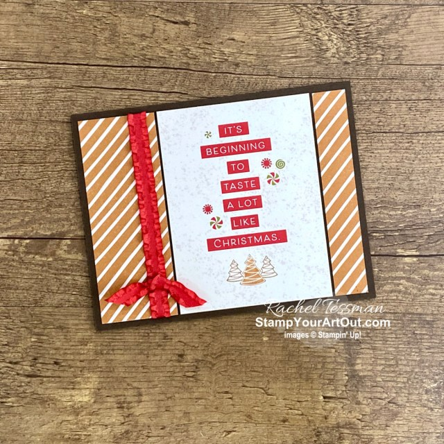 Make 42 Christmas cards with one Gingerbread & Peppermint M&M card pack, the Gingerbread & Peppermint cards & envelopes, the Frosted Gingerbread Stamp Set, the Real Red Ruffled Ribbon, Pearls, some Basic White Cardstock & Envelopes, and some Early Espresso Cardstock. Click here to access measurements, tips, a link to the how-to video with directions and tips, other close-up photos, and links to all the products I used. - Stampin' Up!® - Stamp Your Art Out! www.stampyourartout.com