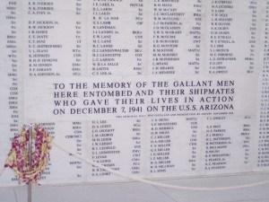USS Arizona Remembrance Wall
