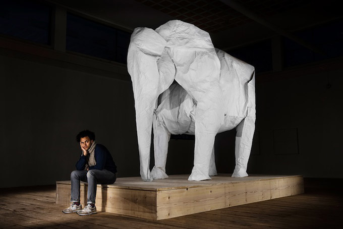 White-Elephant-A-LifeSize-Origami-Elephant-Folded-From-a-Single-Giant-Piece-of