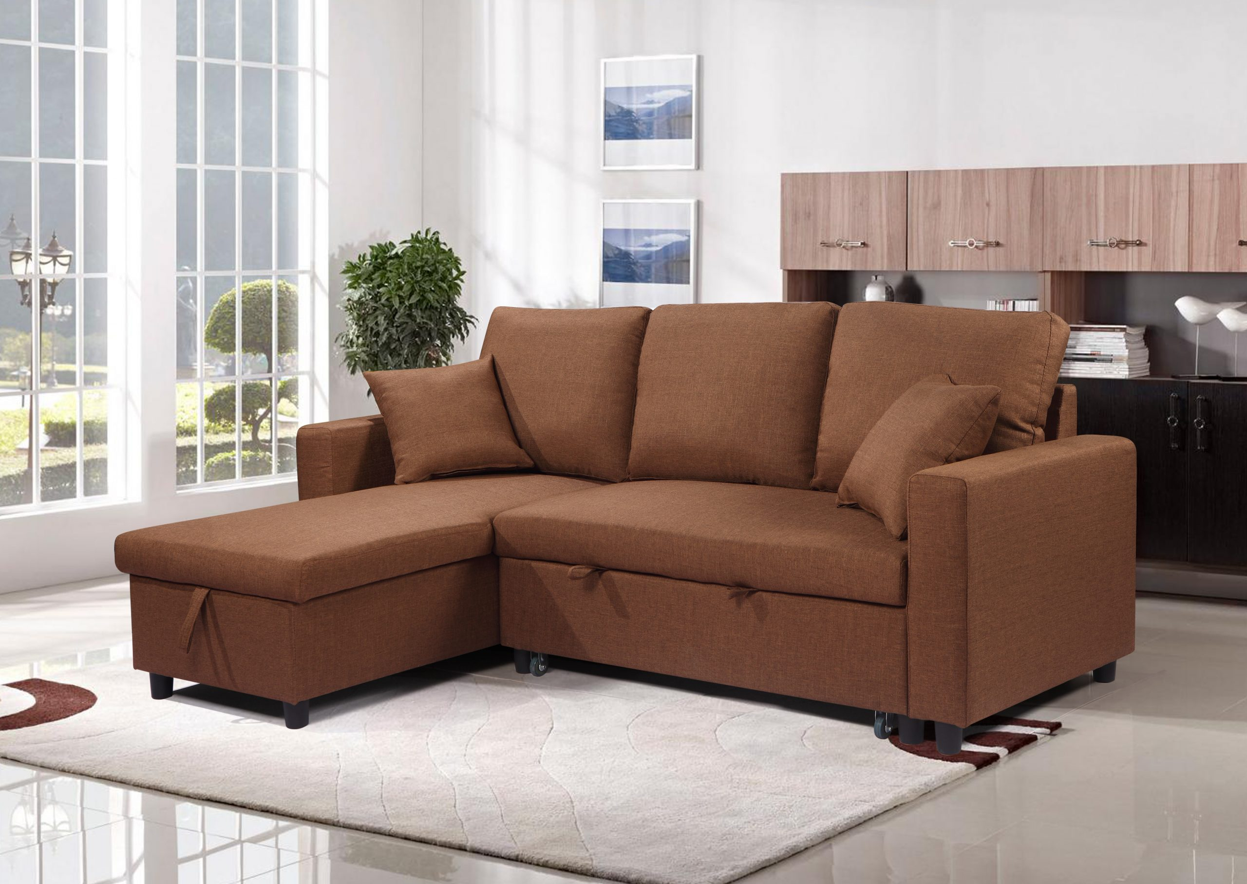 brown sectional with lounger