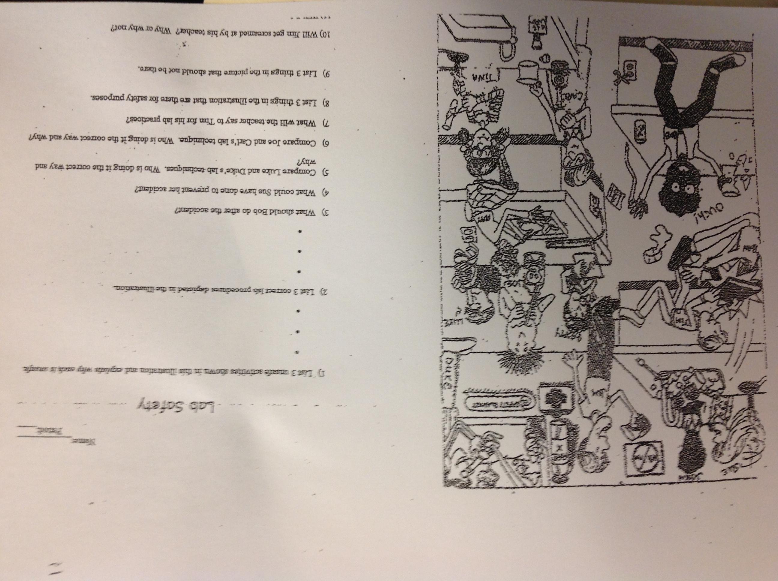 Lab Safety Cartoon Worksheet