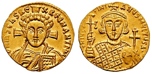 8th Century Byzantine Coin (from CNG coins) -- with Jesus on one side and Emperor Justinian II on the other
