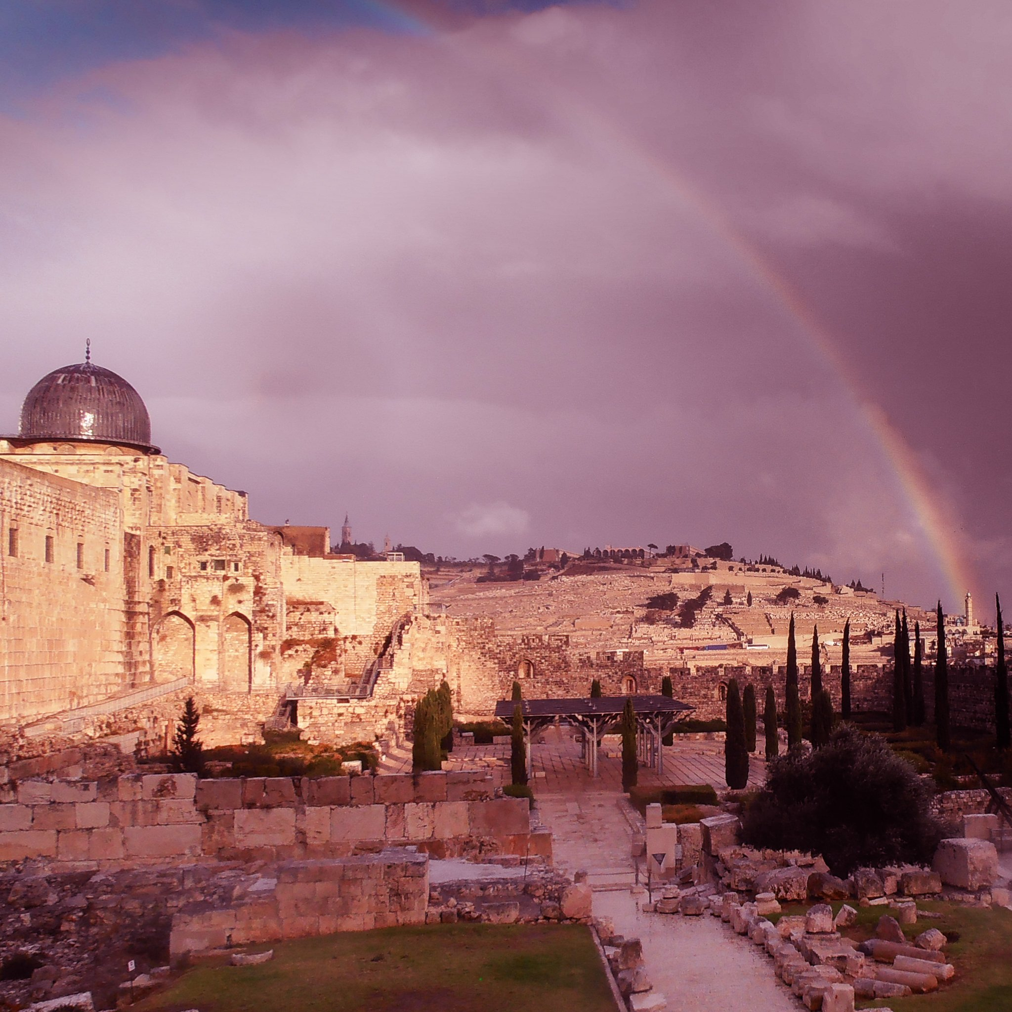 Rainbow over the Mount of Olives.