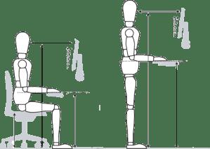 Adjustable height standing desks for posture