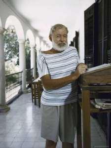 Ernest Hemingway at a standing desk