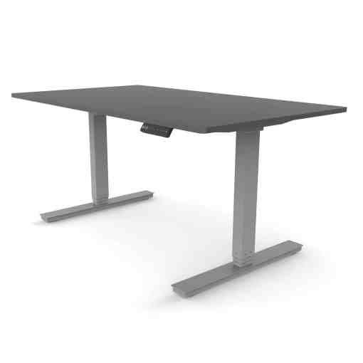 Standing desk dual motor rectangular leg with anthracite colour desktop and grey frame