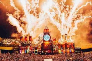 Aerial shot of pyrotechnic display on Boomtown festival stage