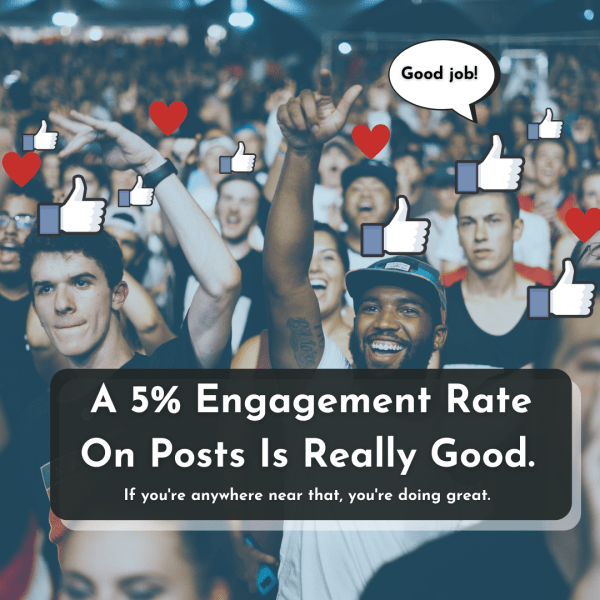 """Picture of a cheering crowd with text overlaid saying: A 5% engagement is on posts is really good"""""""