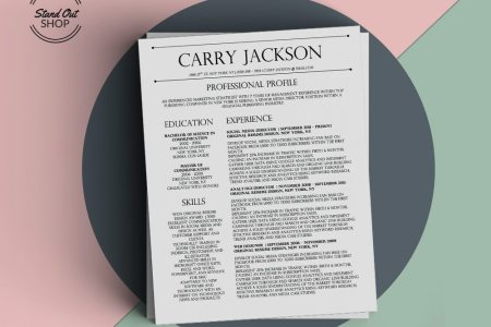 Carry Jackson Resume Template   Stand Out Shop