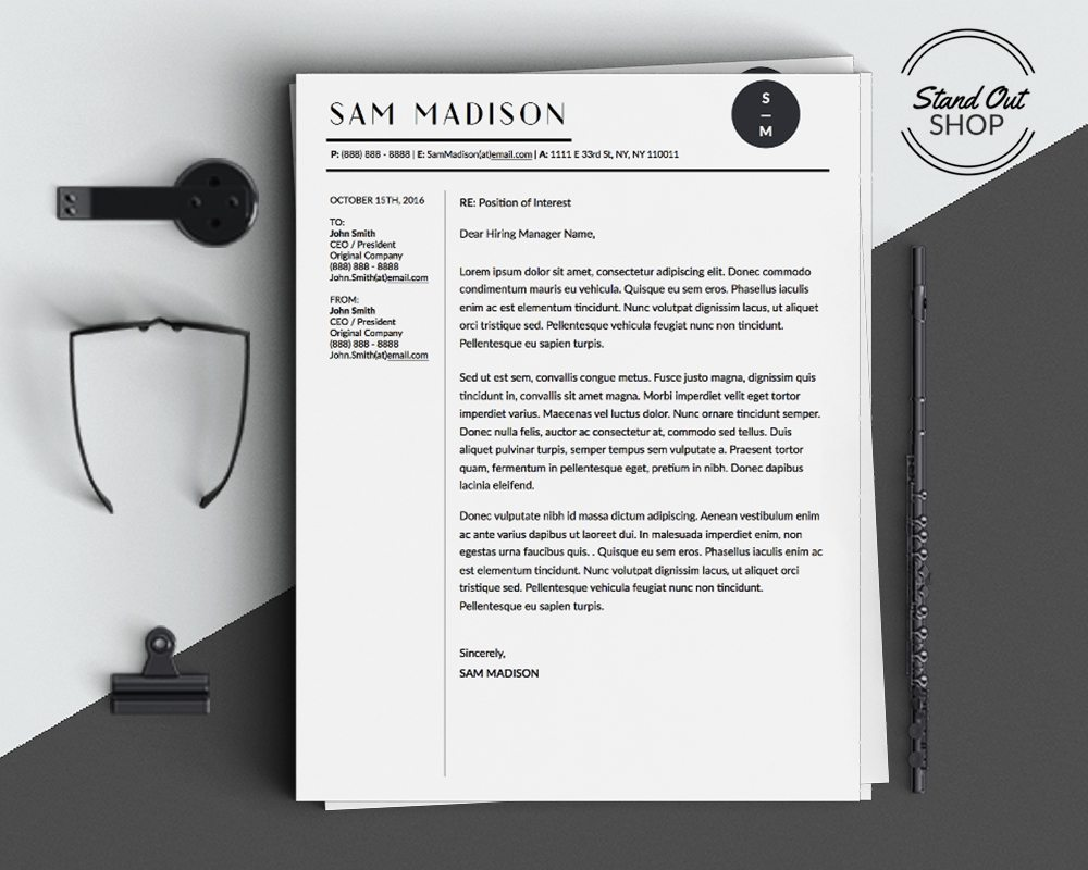 Sam Madison Resume 4 Pack   Stand Out Shop Sam Madison Conservative Business Professional Downloadable Resume and Cover  Letter Template and Cover Letter Template for