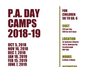 PA Day Camps Information18-19