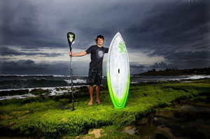 Benoit Carpentier holding his Starboard Sup and Paddle
