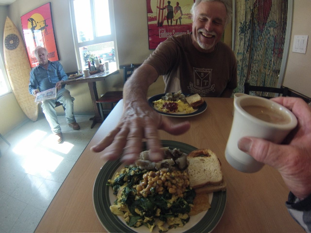Basic breakfast; scrambled w/spinach, home fries, soughdough toast and coffee. I added lots of corn salsa.