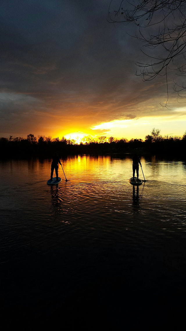 Dave Green: Sunset SUP at Boise's beautiful Quinn's Pond over Thanksgiving weekend. Jo owns Idaho River Sports, is one of the prime movers behind the now famous Boise River Park, and Jayne is an IRS teammate, Payette River Games elite SUP athlete. They are both committed to providing the best SUP experience possible. Jayne, like many of Idaho River Sport's staff, is an ACA Certified SUP instructor.